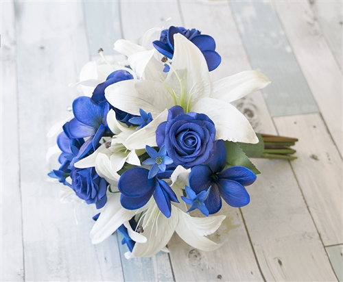 Off White Lilies With Blue Roses And Plumerias Natural