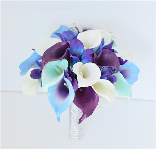 Real Touch Mix Of Calla Lilies In Off White Purple