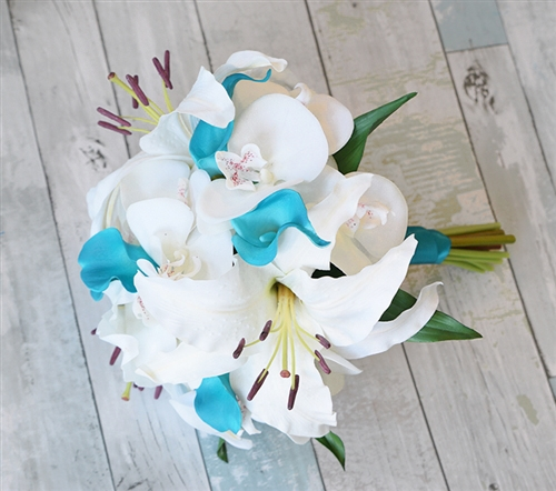Real Touch Turquoise Off White Casablanca Lily And Calla Lily