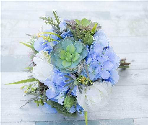 Wedding White Hydrangea: Natural Touch Off White Roses, Silk Blue Hydrangeas And