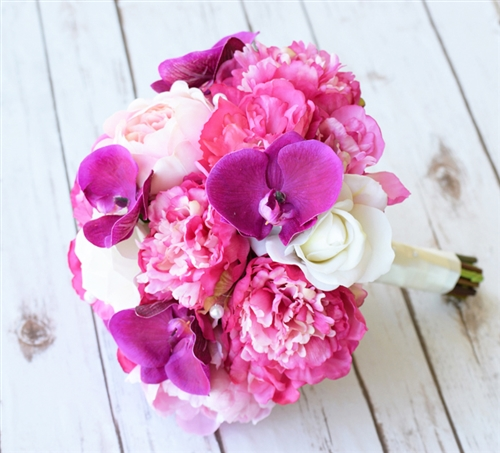 Fuchsia natural touch peonies and orchids bouquet