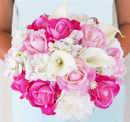 White and Hot Pink Roses, Callas, Hydrangeas and Peonies Natural ...