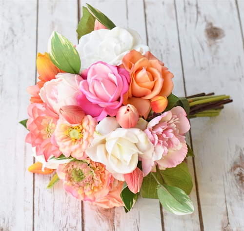 Natural touch fuchsia and orange seashells bouquet mightylinksfo