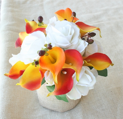 Real touch roses and calla lilies orange silk wedding flower bouquet mightylinksfo
