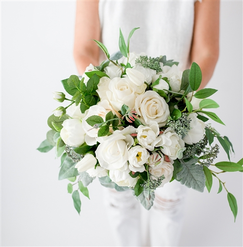 White Spray Flower Bouquet Eucalyptus Roses And Fillers
