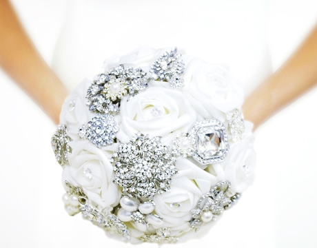 Silk Flowers Wedding Bouquets.Ultimate Jewel Brooch Off White Roses Amazing Bling Bouquet