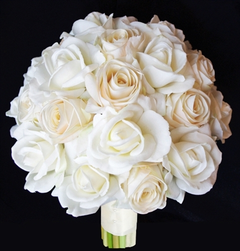 Champagne Ivory Wedding Bouquet Silk Wedding Beige Roses Bouquet