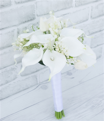 Lily Flower Wedding Bouquet: Natural Touch Silk Calla Lily Wedding Bouquet