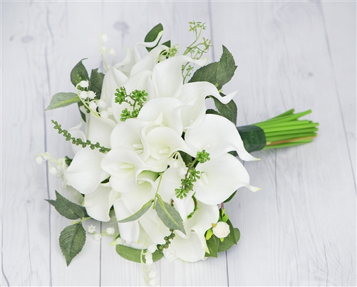 Natural Touch Off White Calla Lilies Garden Bouquet
