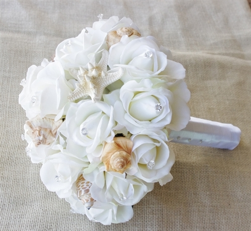Seashells Natural Touch Off White Roses Beach Wedding Bouquet