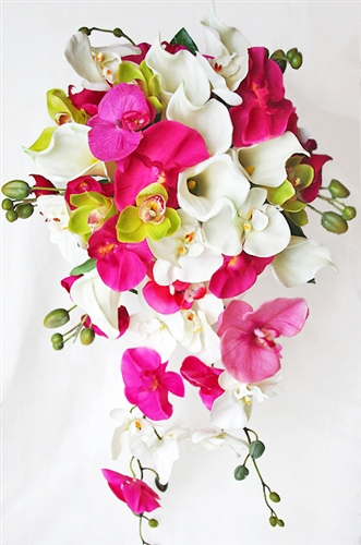 Natural touch green and fuchsia orchids and off white callas natural touch green and fuchsia orchids and off white callas cascading bouquet mightylinksfo