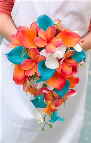 Natural Touch Tropical Teal Coral Plumerias Callas Cascade