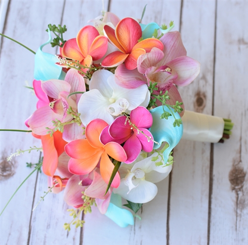 Natural Touch Pink Turquoise And Coral Plumerias And
