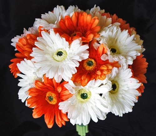 Orange Natural Touch Gerbera Daisy Bouquet Real Touch Sik Wedding ...