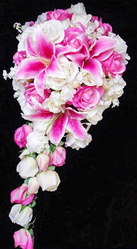 Natural touch off white real touch roses and pink stargazer lilies natural touch off white real touch roses and pink stargazer lilies cascading bouquet mightylinksfo