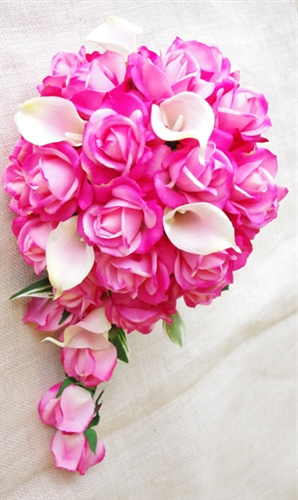 Natural touch fuchsia pink roses calla lilies cascading bouquet mightylinksfo Choice Image
