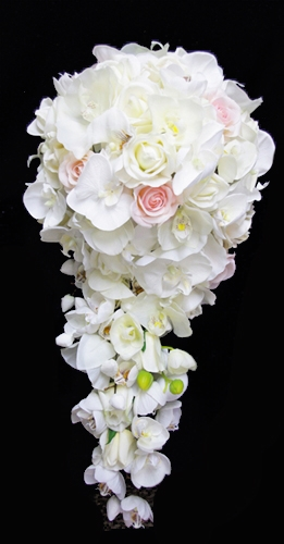 Natural Touch Off White Real Touch Roses And Orchids Cascading Bouquet