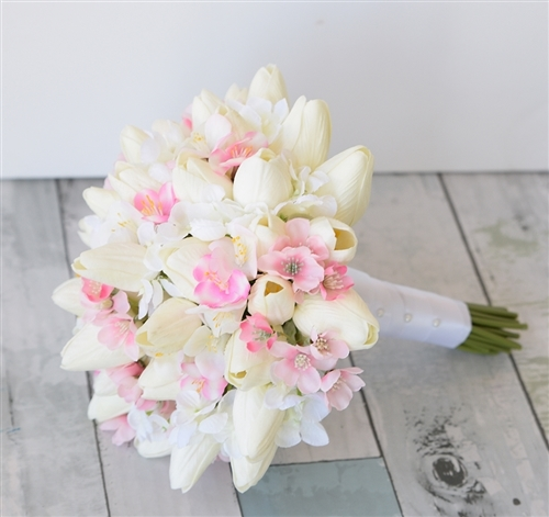 Touch Tulip and Cherry Blossom Bouquet - Silk Wedding Off White ...
