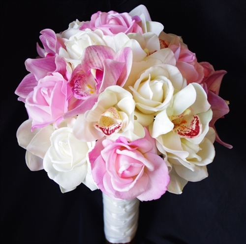 Silk wedding bouquet with real touch pink and off white roses and silk wedding bouquet with real touch pink and off white roses and orchids mightylinksfo