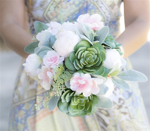 Succulents peonies and pink cherry blossoms natural touch wedding succulents peonies and pink cherry blossoms natural touch wedding bouquet mightylinksfo