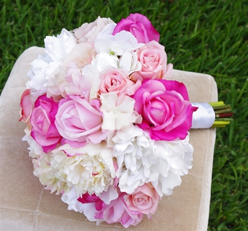 Hot pink roses peonies and hydrangeas real touch silk wedding bouquet mightylinksfo