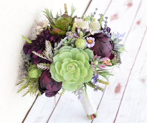 Fall Wedding Bouquets.Plum And Greens Rich Mix Bouquet Of Peonies Succulents And Wild Sprays