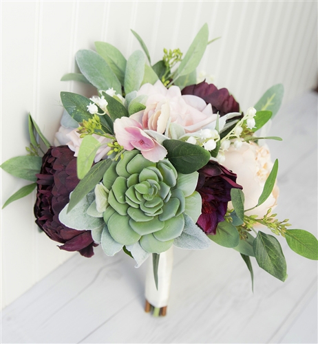 Succulent plum blush real touch silk wedding bouquet peonies and succulent plum blush real touch silk wedding bouquet peonies and eucalyptus silk wedding flowers mightylinksfo