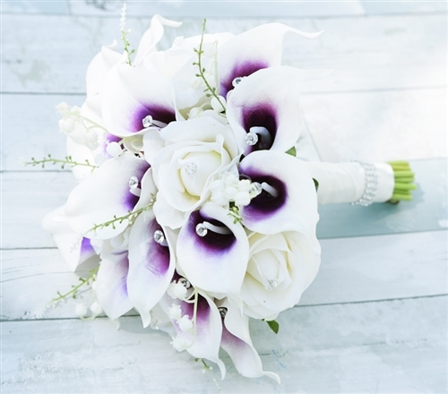 Purple heart picasso callas roses and hydrangeas bouquet rich purple heart picasso callas roses and hydrangeas bouquet rich bouquet made with natural touch off white roses and purple heart picasso calla lilies mightylinksfo