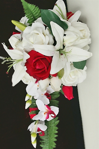 Natural touch off white real touch roses red roses and lilies natural touch off white real touch roses red roses and lilies cascading bouquet mightylinksfo