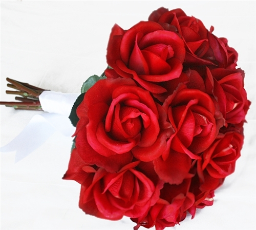 Round Real Touch Red Open Roses Bouquet