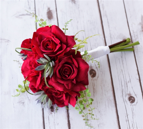 silk red open roses green sprays and succulents bouquet