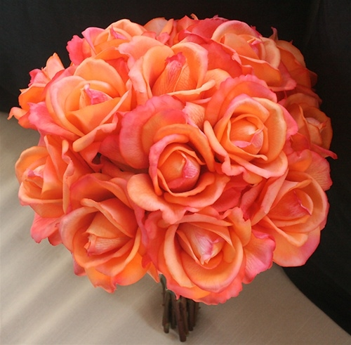 coral colored flowers wedding touch orange coral open roses bouquet silk wedding 3056