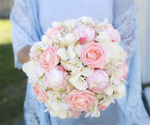 Blush Pink Roses Peonies And Hydrangeas Mix Silk Real Touch Wedding Bouquet